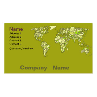 Lime green maps business card templates