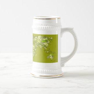 Lime green maps coffee mugs