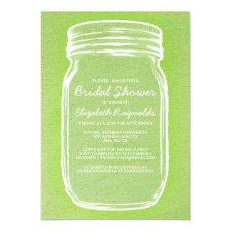Lime Green Mason Jar Bridal Shower Invitations Custom Invite