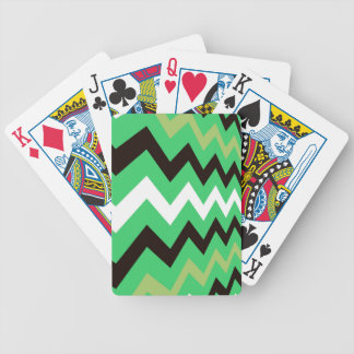 Lime Green Mixed Chevrons Bicycle Playing Cards
