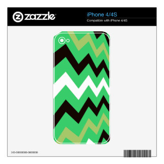 Lime Green Mixed Chevrons Skin For iPhone 4