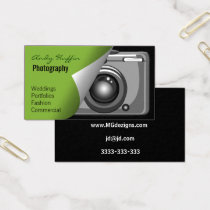 lime green Mod photographers Business Card
