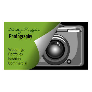 lime green Mod Photoraphy, camera Double-Sided Standard Business Cards (Pack Of 100)