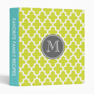 Lime Green Modern Moroccan Pattern Custom Monogram Binder