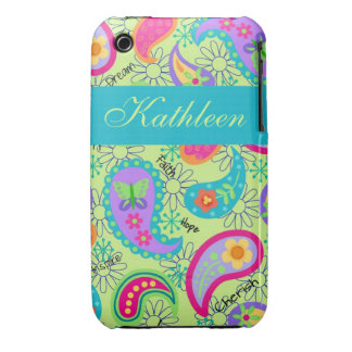 Lime Green Modern Paisley Graphic Pattern Case-Mate iPhone 3 Cases