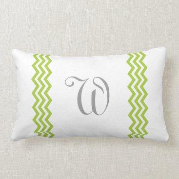 Beach Themed Lime Green Monogram Chevron Toss Pillow