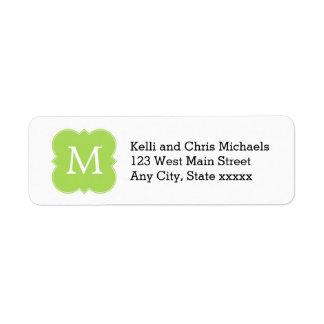 Lime Green Monogram Return Address Labels
