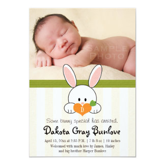 LIME GREEN MONOGRAMMED BUNNY BIRTH ANNOUNCEMENT