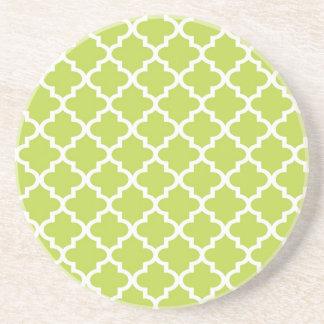 Lime green Moroccan tile pattern geometric modern Drink Coaster