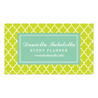 Lime Green Moroccan Tiles Lattice Personalized Double-Sided Standard Business Cards (Pack Of 100)