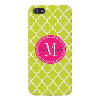 Lime Green Moroccan Tiles Lattice Personalized Cover For iPhone SE/5/5s