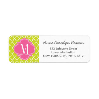 Lime Green Moroccan Tiles Lattice Personalized Label
