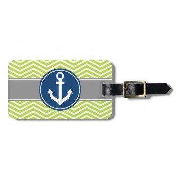 Lime Green Nautical Anchor Chevron Bag Tag