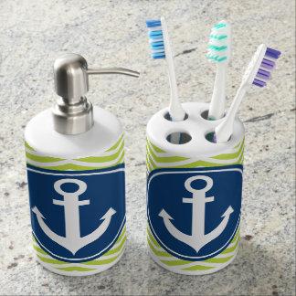 Lime Green Nautical Anchor Chevron Bath Set