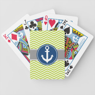Lime Green Nautical Anchor Chevron Bicycle Playing Cards
