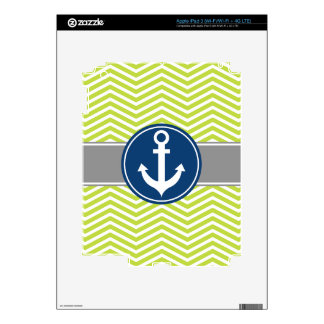 Lime Green Nautical Anchor Chevron Decal For iPad 3