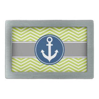 Lime Green Nautical Anchor Chevron Rectangular Belt Buckle