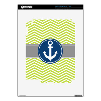 Lime Green Nautical Anchor Chevron Skins For The iPad 2