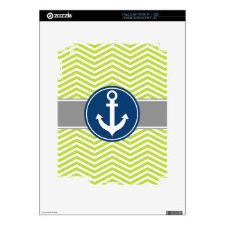 Lime Green Nautical Anchor Chevron Skins For The iPad 2