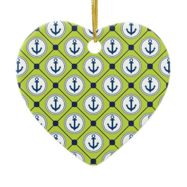 Beach Themed Lime Green Nautical Anchor Pattern Ceramic Ornament