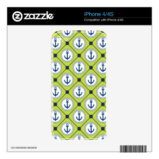 Lime Green Nautical Anchor Pattern Decal For The iPhone 4S