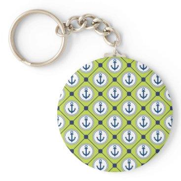 Beach Themed Lime Green Nautical Anchor Pattern Keychain