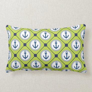 Beach Themed Lime Green Nautical Anchor Pattern Lumbar Pillow