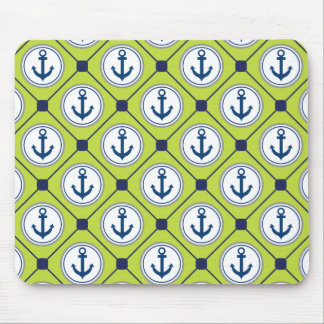 Lime Green Nautical Anchor Pattern Mouse Pad
