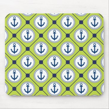 Beach Themed Lime Green Nautical Anchor Pattern Mouse Pad