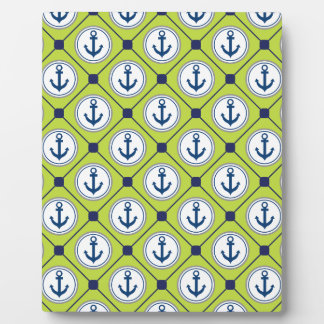 Lime Green Nautical Anchor Pattern Photo Plaque