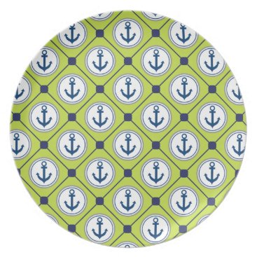 Beach Themed Lime Green Nautical Anchor Pattern Plate
