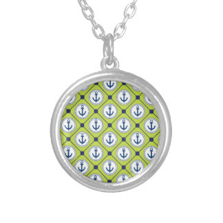 Lime Green Nautical Anchor Pattern Round Pendant Necklace