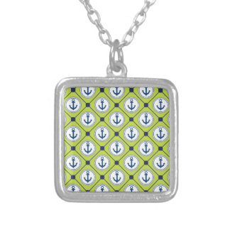 Lime Green Nautical Anchor Pattern Square Pendant Necklace