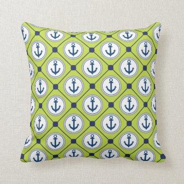 Beach Themed Lime Green Nautical Anchor Pattern Throw Pillow