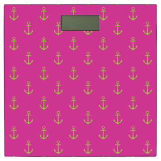 Lime Green Nautical Anchors on Diva Pink Bathroom Scale