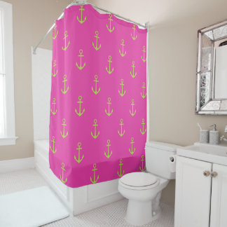 Lime Green Nautical Anchors on Diva Pink Shower Curtain