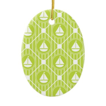 Beach Themed Lime Green Nautical Sailboat Ceramic Ornament