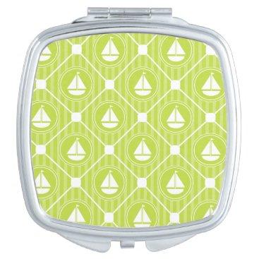 Beach Themed Lime Green Nautical Sailboat Compact Mirror