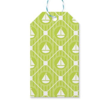 Beach Themed Lime Green Nautical Sailboat Gift Tags