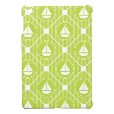 Beach Themed Lime Green Nautical Sailboat iPad Mini Cases