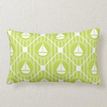 Beach Themed Lime Green Nautical Sailboat Lumbar Pillow