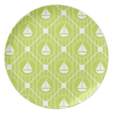 Beach Themed Lime Green Nautical Sailboat Melamine Plate