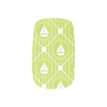 Beach Themed Lime Green Nautical Sailboat Minx Nail Art