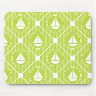 Beach Themed Lime Green Nautical Sailboat Mouse Pad