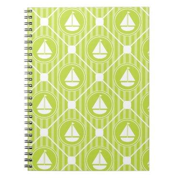 Beach Themed Lime Green Nautical Sailboat Notebook