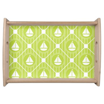 Beach Themed Lime Green Nautical Sailboat Serving Tray