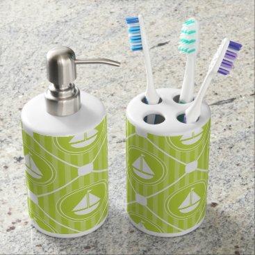 Beach Themed Lime Green Nautical Sailboat Soap Dispenser & Toothbrush Holder