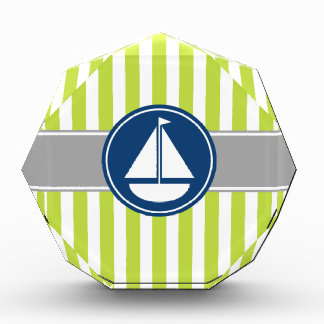 Lime Green Nautical Sailboat Stripes Acrylic Award