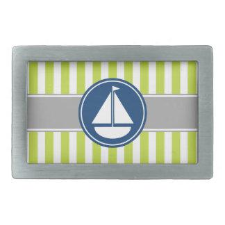 Lime Green Nautical Sailboat Stripes Belt Buckle