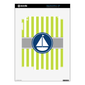 Lime Green Nautical Sailboat Stripes Decal For iPad 2